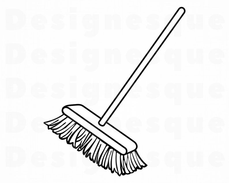 Broom clipart. Svg outline cleaning files