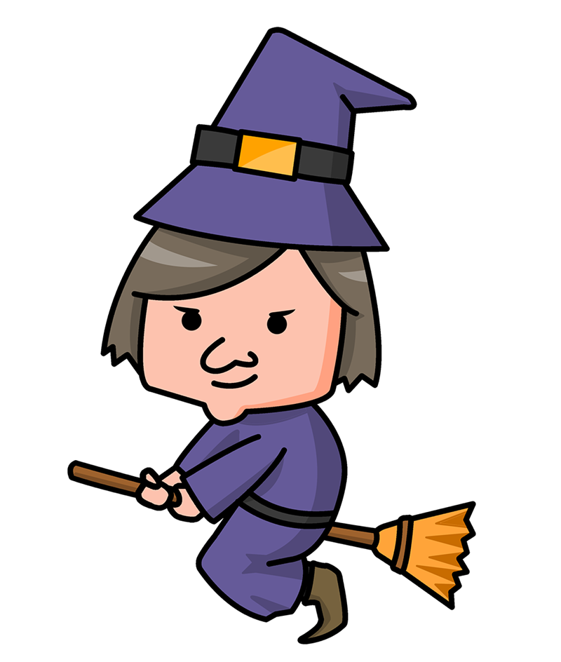 Witch cartoon . Clipart halloween disco