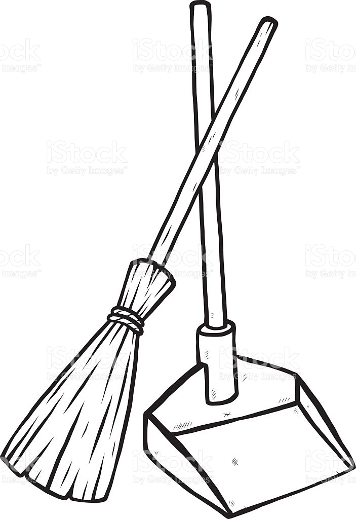 Dust pan station. Broom clipart black and white