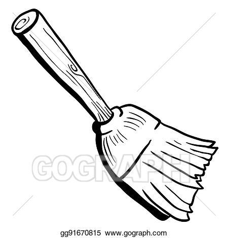 Broom clipart black and white. Eps illustration vector