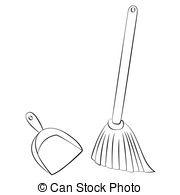 Broom clipart black and white. Dustpan letters clip art