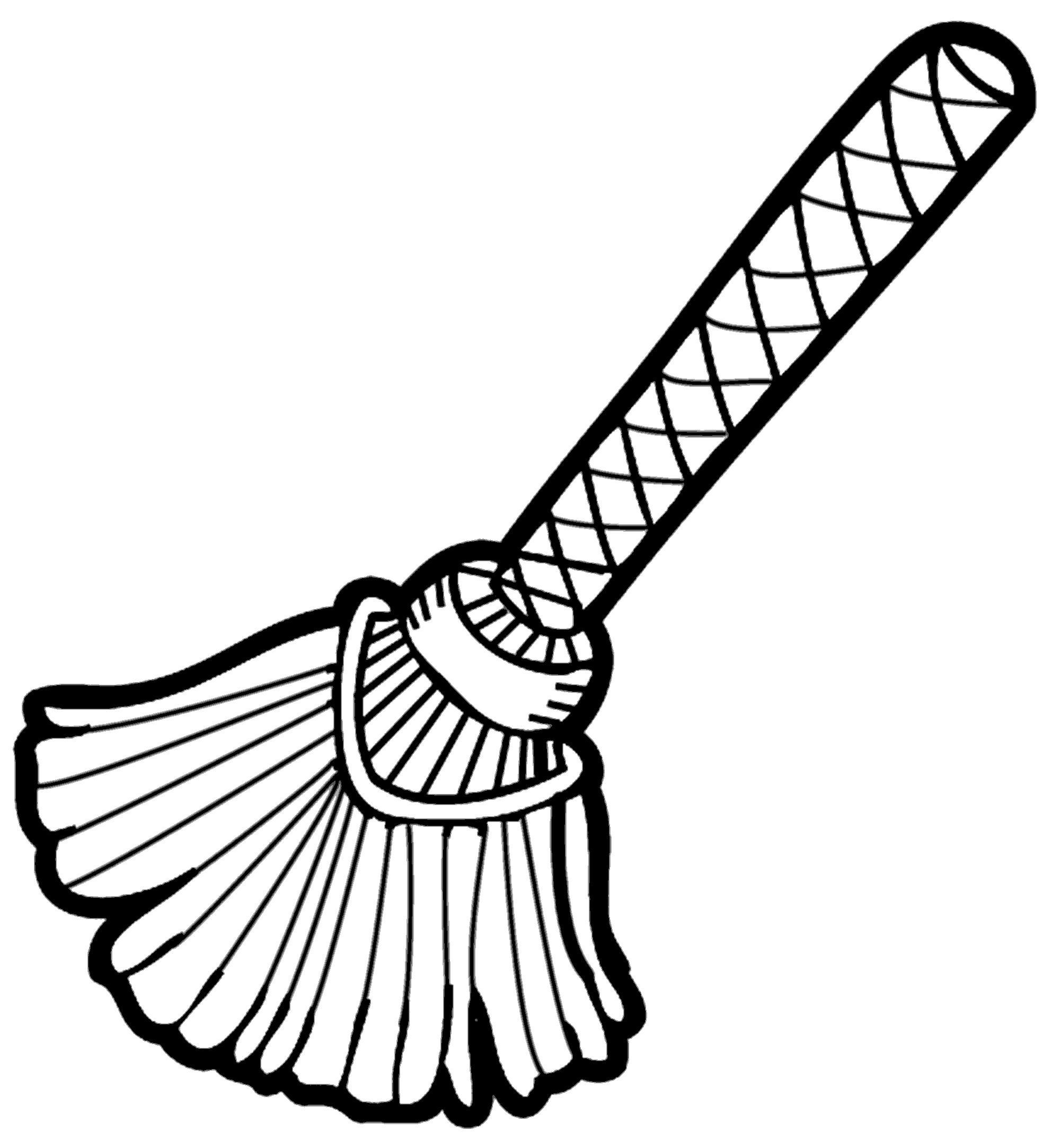 Broom clipart black and white. Letters