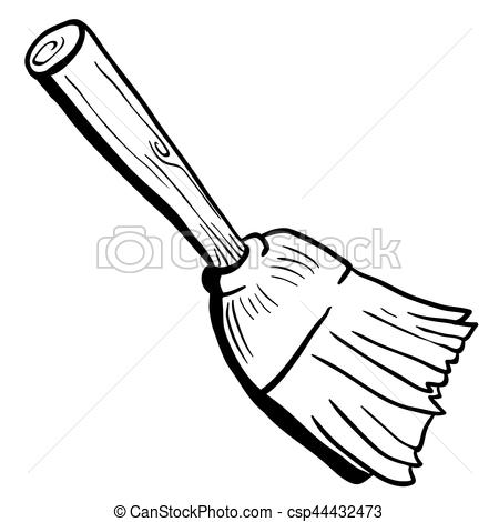 Station . Broom clipart black and white