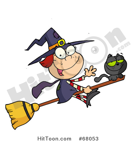 Witch clipart stick. Halloween happy and cat