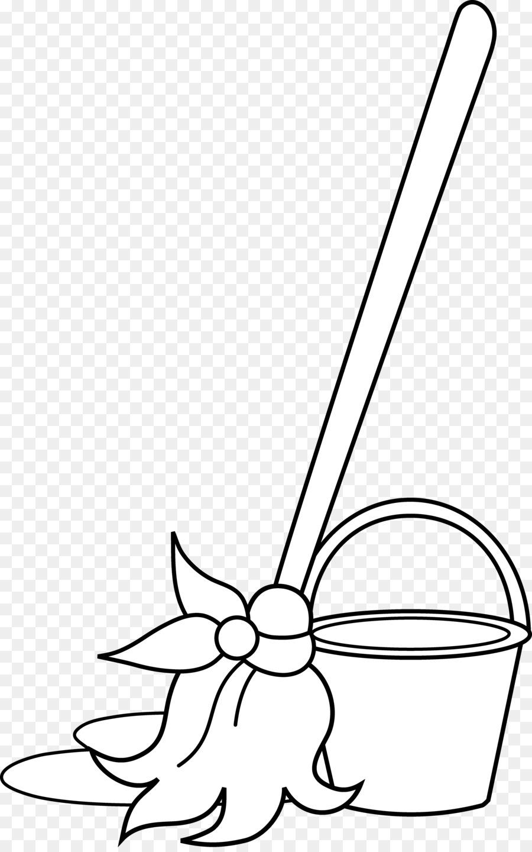 Coloring book broom clip. Bucket clipart mop bucket