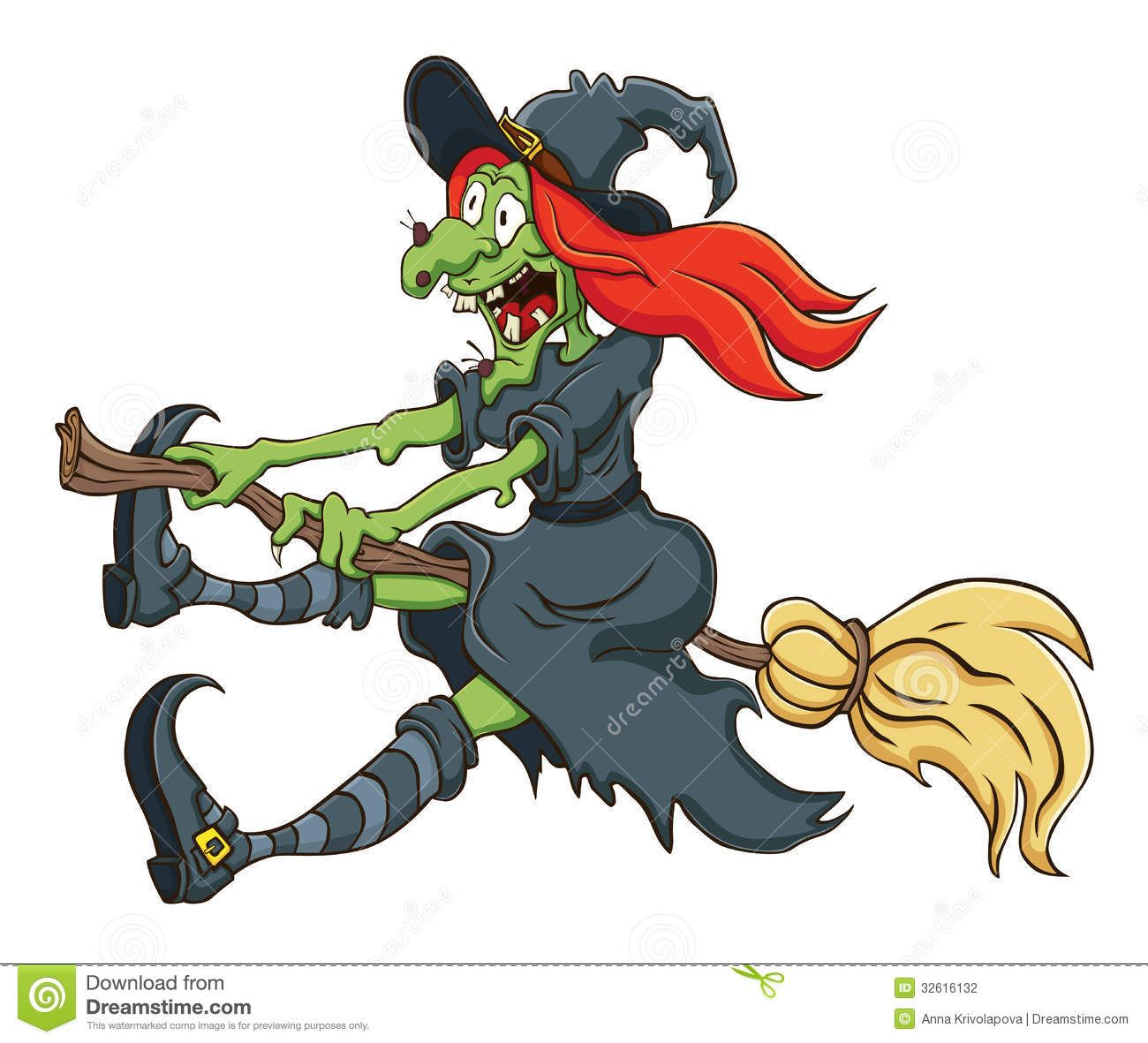 The witch cartoon flying. Broom clipart chart