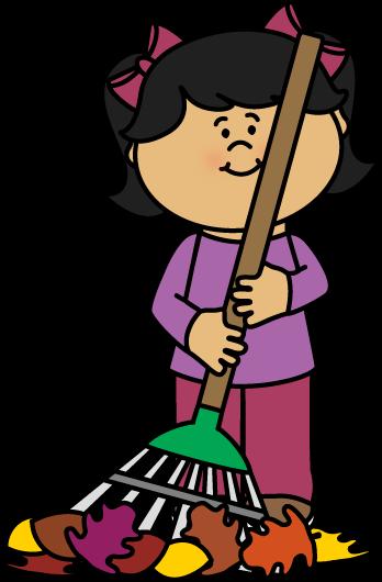 Broom clipart chart. Autumn fall girl raking