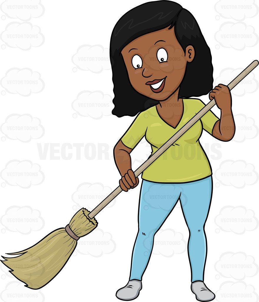 A black woman cheerfully. Broom clipart chart