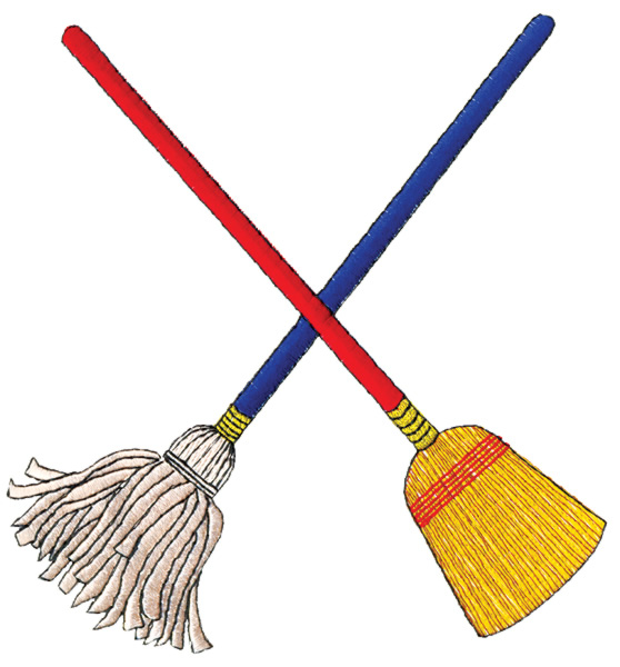 Broom clipart chart. Crossed mop embroidery design