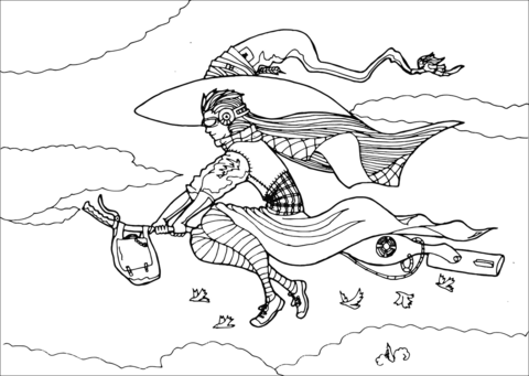 Urban witch flying on. Broom clipart coloring page