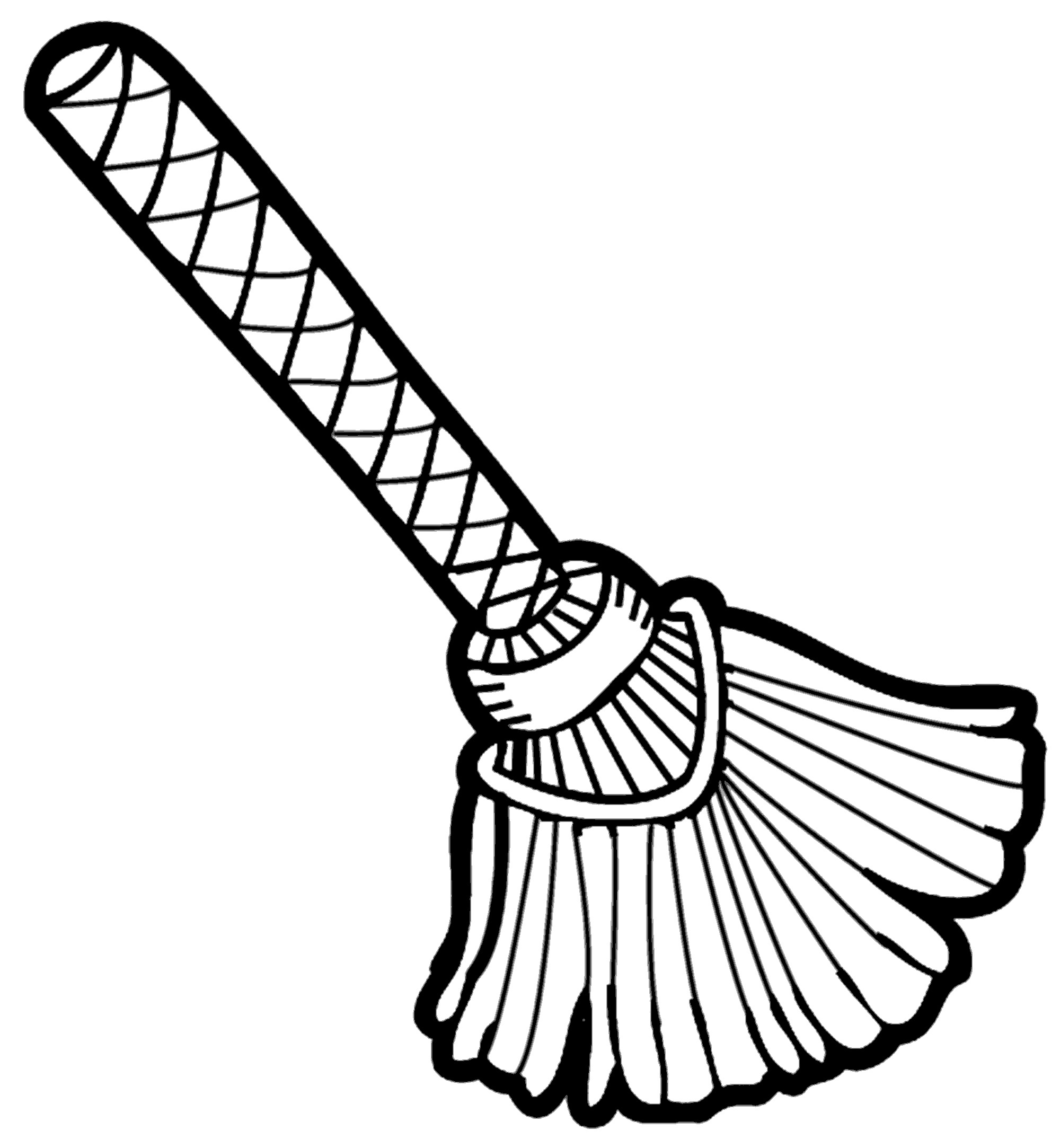 Broom clipart coloring page. Free witch on a