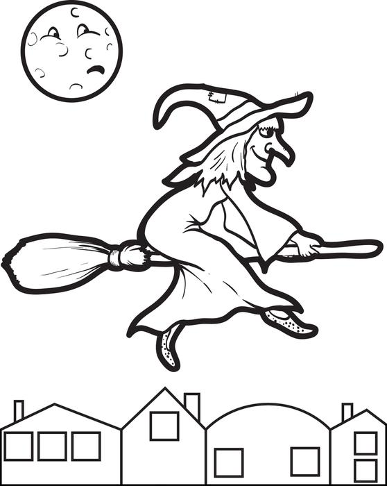 Best flying witch free. Broom clipart coloring page