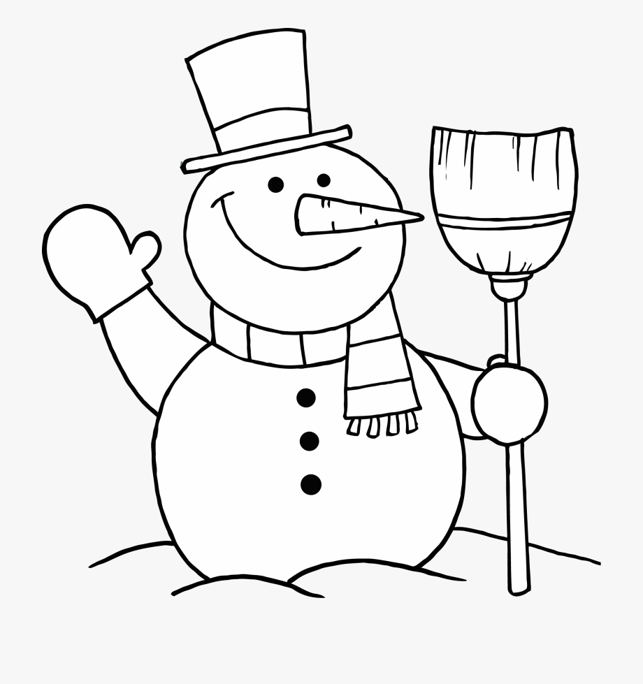Of snowman holding a. Broom clipart coloring page
