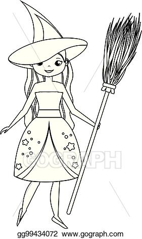 Eps vector for children. Broom clipart coloring page