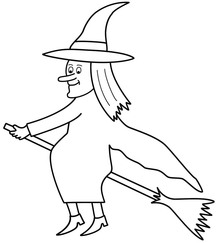 Broom clipart coloring page.  best magic wizards