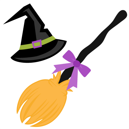 Hat and broom svg. Witch clipart symbol