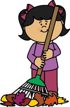 Broom clipart kid. Boy playing in leaves
