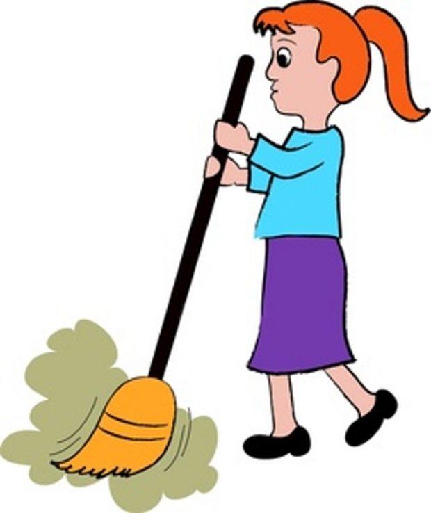 Cartoon sweeping the floor. Broom clipart kid