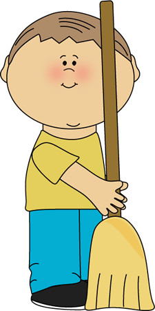 Cliparts boy with. Broom clipart kid