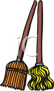 Image a and . Broom clipart mop