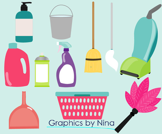 Broom clipart mop. Instant dowload cleaning items