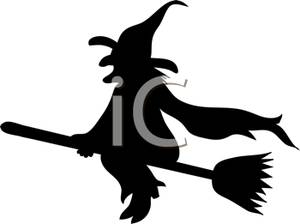 A of wicked witch. Broom clipart silhouette