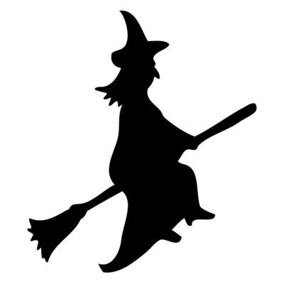 Broom clipart silhouette. Witch on a broomstick