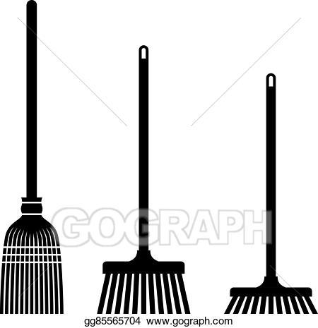 Sweeping black symbols illustration. Broom clipart vector