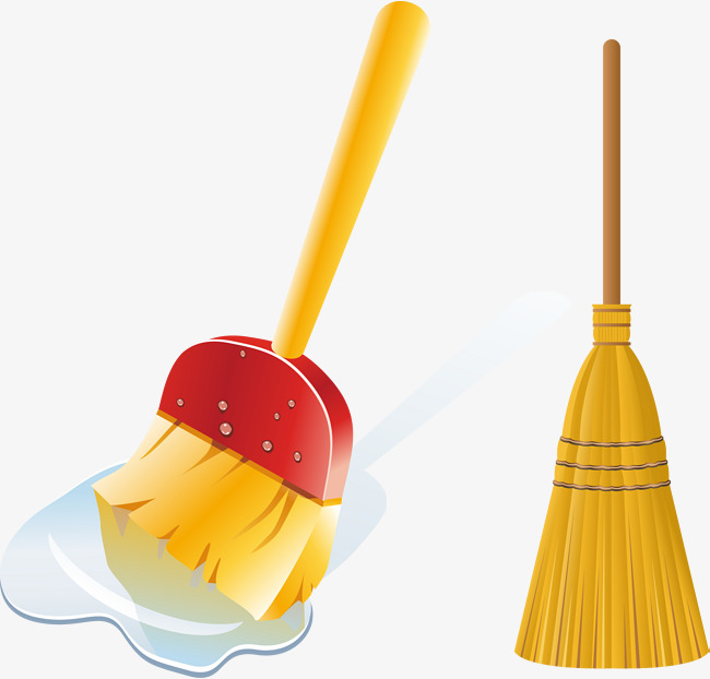 Hand painted png and. Broom clipart vector