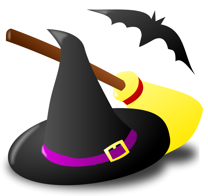 Clock clipart kawaii. Halloween witch hat broom