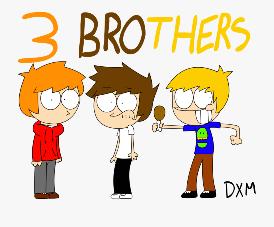 Sibling three cartoon cliparts. Brothers clipart 3 brother