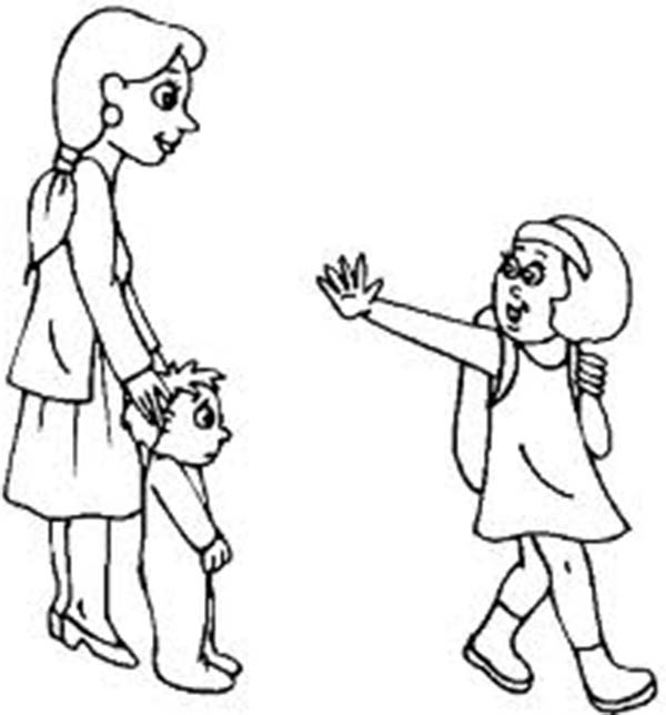 Brother clipart coloring. A little girl waving