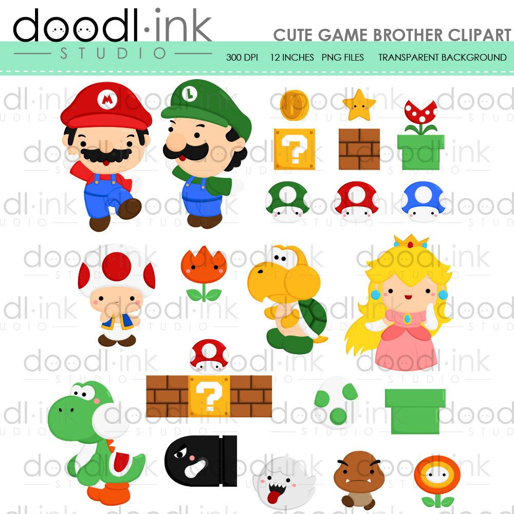 Sale game digital mario. Brother clipart cute