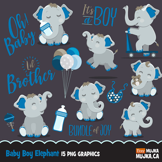 Brother clipart cute. Elephant baby shower lettering