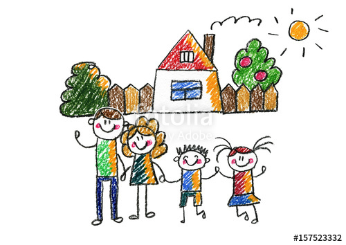 Kids drawing happy family. Brothers clipart daughter