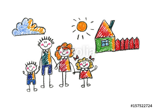 Brothers clipart daughter. Kids drawing happy family