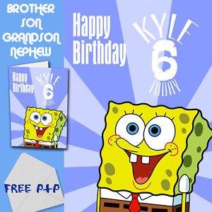 Brother clipart nephew. Spongebob personalised birthday card