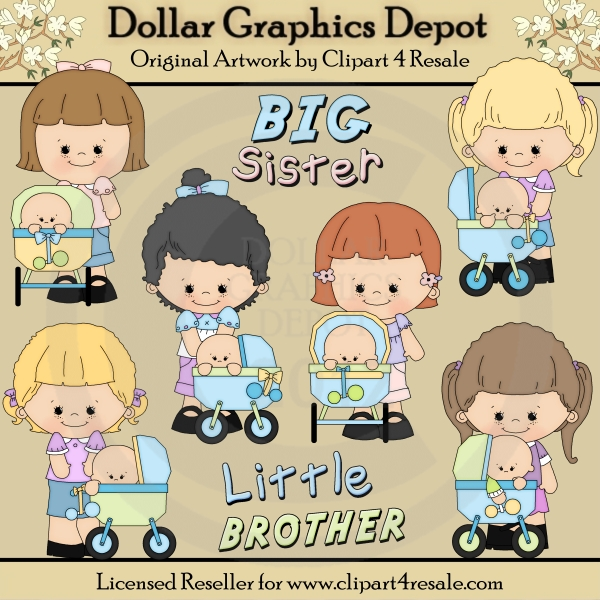 Brothers clipart 3 brother. Big sister little clip