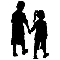 Silhouetts of sister and. Brother clipart silhouette