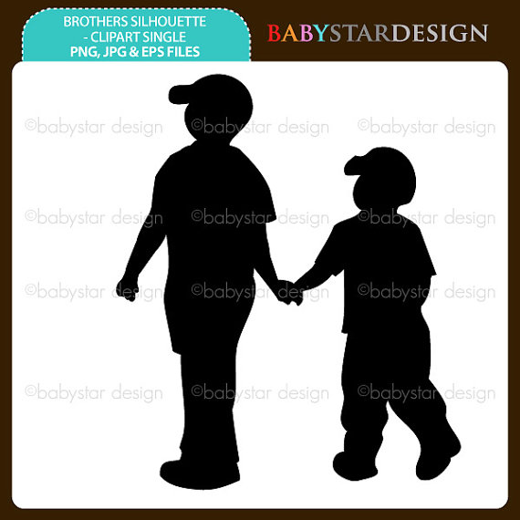 Brothers cliparts. Brother clipart silhouette