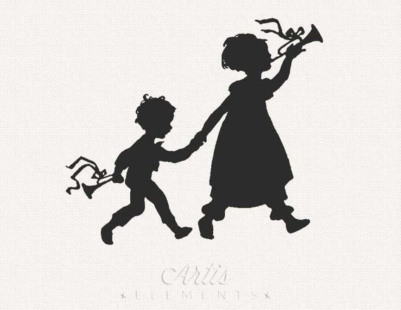 7 clipart sibling. Silhouette of little brother