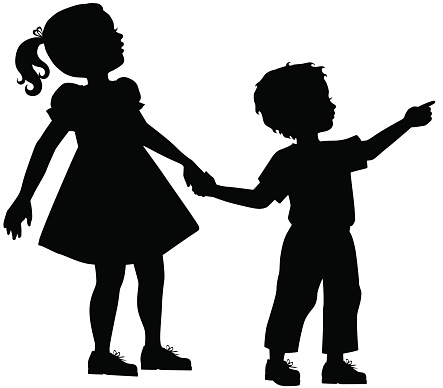 Sister clip art library. Brother clipart silhouette
