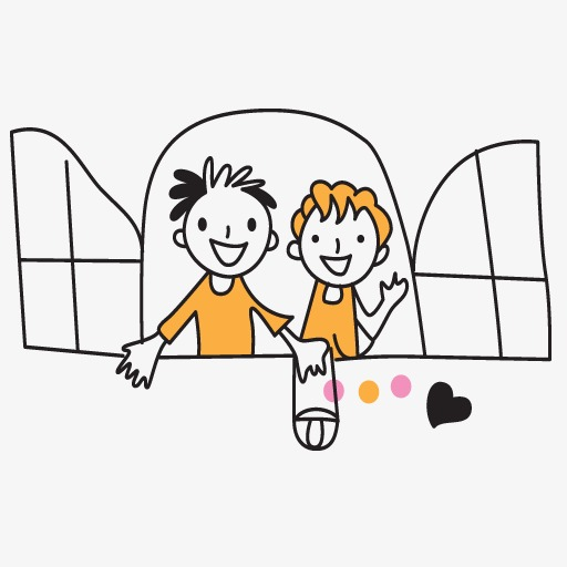 Window heart png image. Brothers clipart stick figure