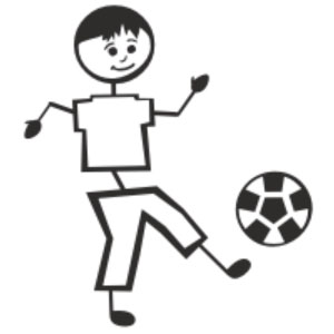 Brothers clipart stick figure. Soccer sport family vinyl
