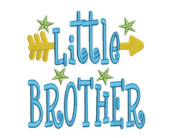 Brothers clipart word. Embroidery etsy little brother