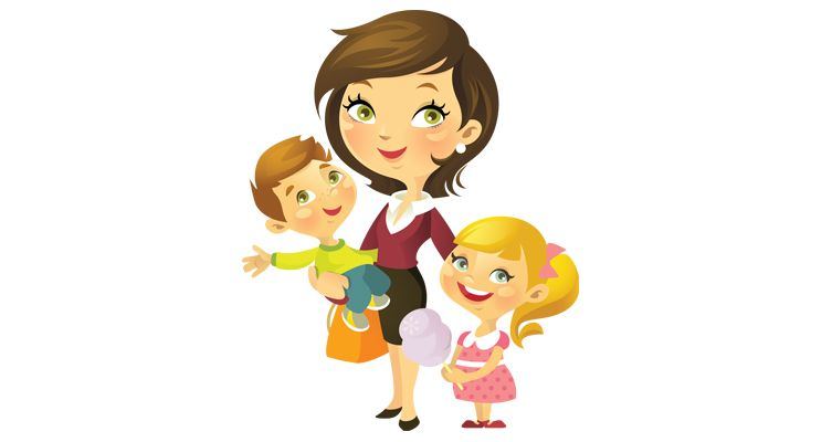 Gallery for with kids. Mother clipart single parent family
