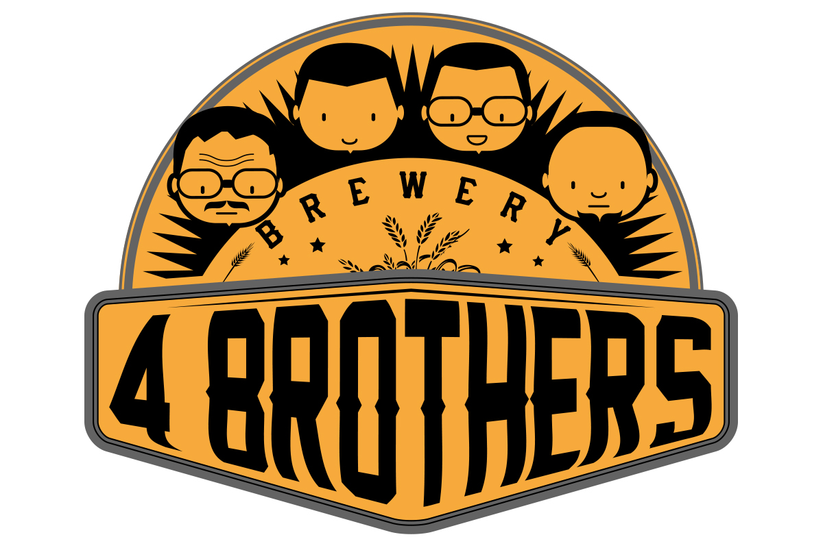 Upmarket professional brewery logo. Brothers clipart 4 brothers