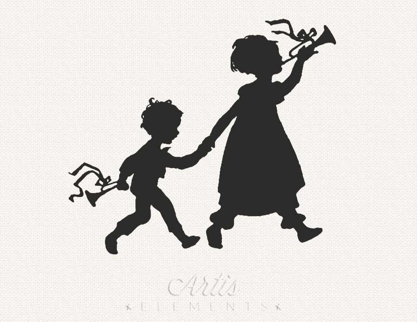 Brother clipart sister. Silhouette of little and