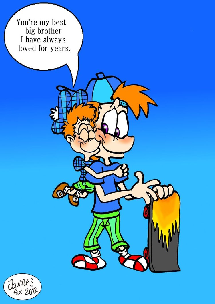 Little brother hug by. Brothers clipart brotherly love