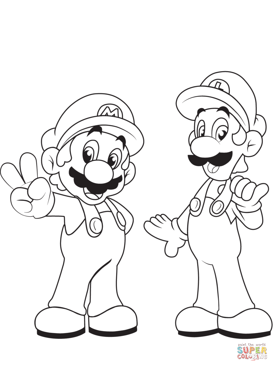 Luigi from mario bros. Brothers clipart coloring